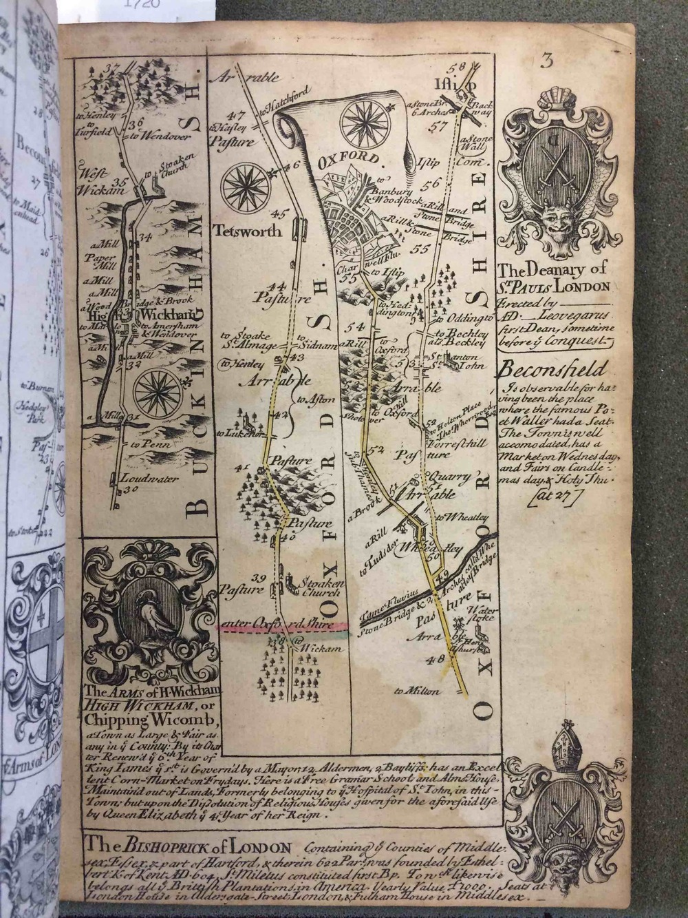 From the Oxfordshire county line to Oxford, a straight path.  John Ogilby, Britannia Depicta (London, 1720).  Sights and points of interest, like digressions, are located in the margins.