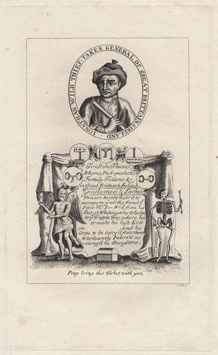 "An anonymous engraving of Jonathan Wild, offered as a satirical ""ticket"" to his execution (ca. 1725).  Photo by Curator from a private collection."