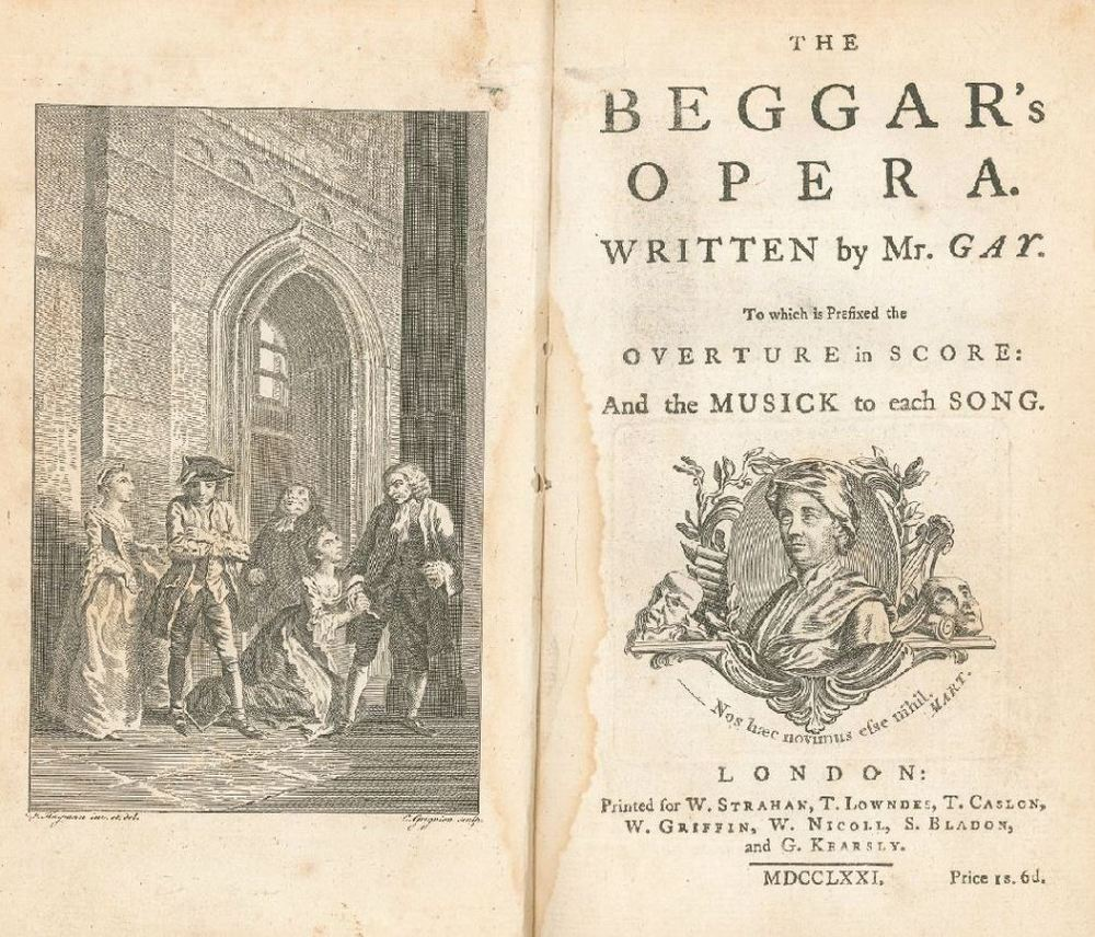 Title page to the 1728 edition of The Beggar's Opera.  That's John Hippisley as Wild as Peachum on the far right.   Image from the Burden Collection at the University of Adelaide.