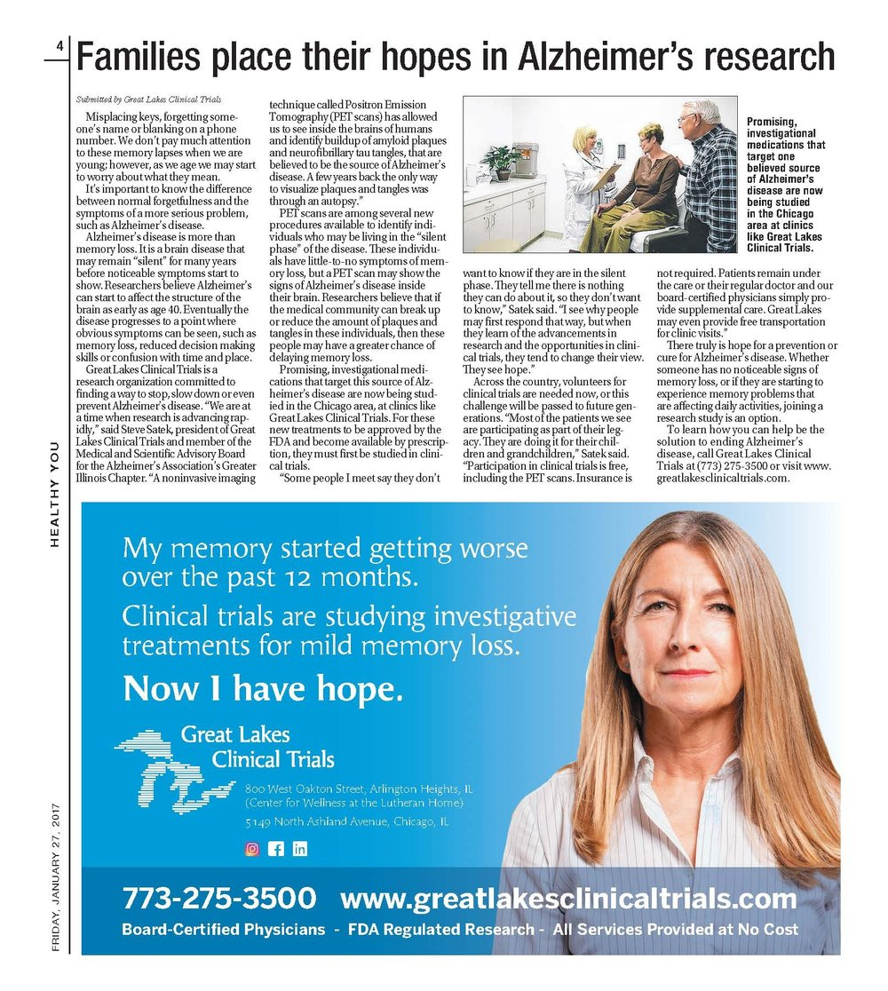 Today's Daily Herald Article Featuring Great Lakes Clinical Trials
