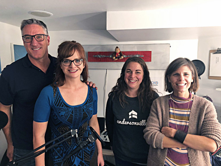 (from left) Steve with Amber, Sara and Laura in Transistor's Studio C.