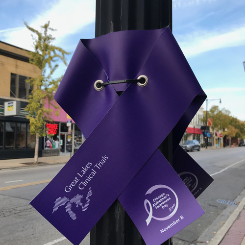 Purple ribbons line Clark Street in Andersonville in honor of November's Alzheimer's Awareness Month.