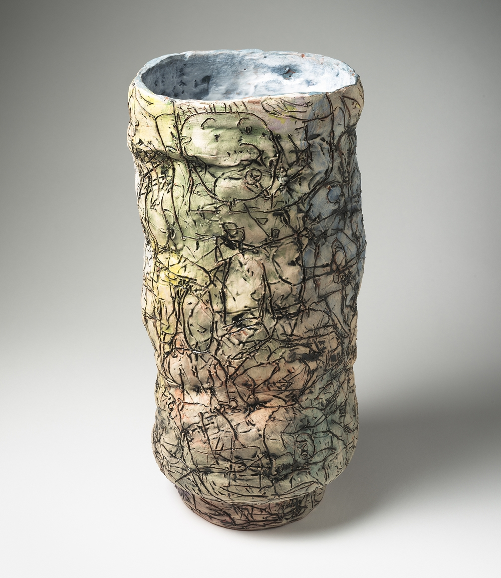 "Tonal Tower, 2015, 18""x8""x8"", Earthenware with Underglaze and Majolica"