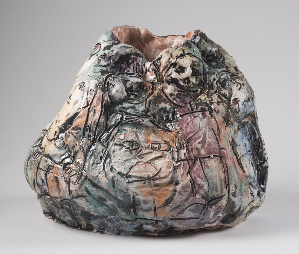"Bag O' Goodies and Baddies (view 2), 2015, 14""x14""x14"", Earthenware with Underglaze and Majolica"