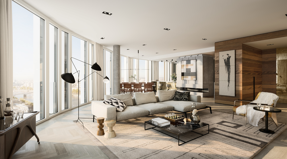 How to use large rugs to encompass vast areas: Apartment in South Bank Tower, London by Studio Ashby
