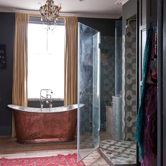 Bathroom with antique rug in place of a bath mat. Image from House to Home, photography: James Merrell