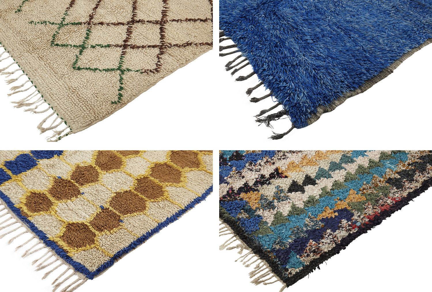 From left to right: 1) Looped Pile Beni Ouarain, Beni M'Guild Rug, Azilal Rug, Boucherouite Rug