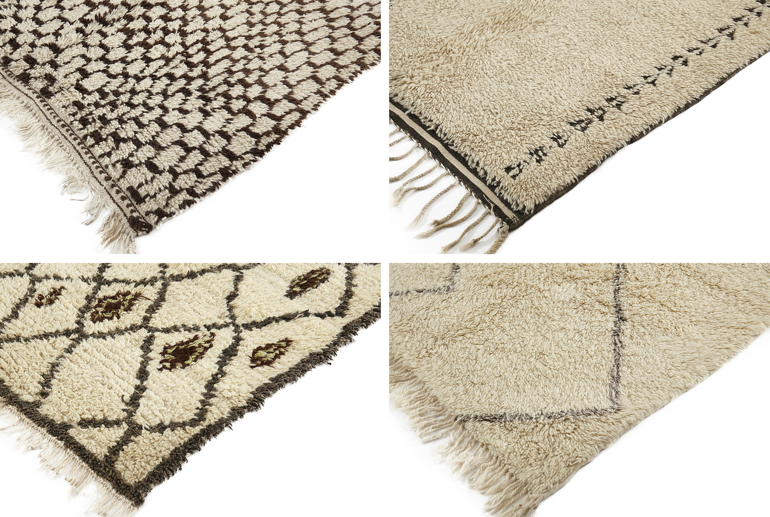 From left to right: 1) Beni Ouarain Long Runner 2) Beni Ouarain Rug 3) Moroccan Azilal 4) New made Moroccan Beni Ouarain