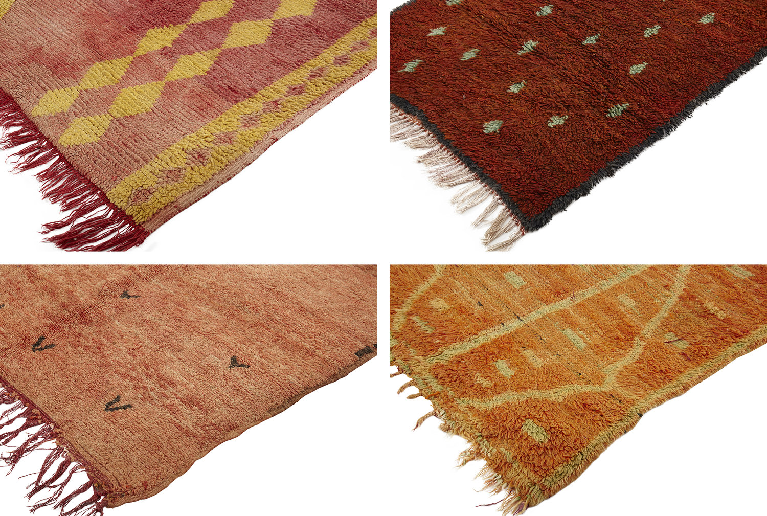 From left to right: 1) Coral Harlequin Boujad Rug 2) Boujad Runner 3) Rehamna Rug 4) Boujad Runner Rug