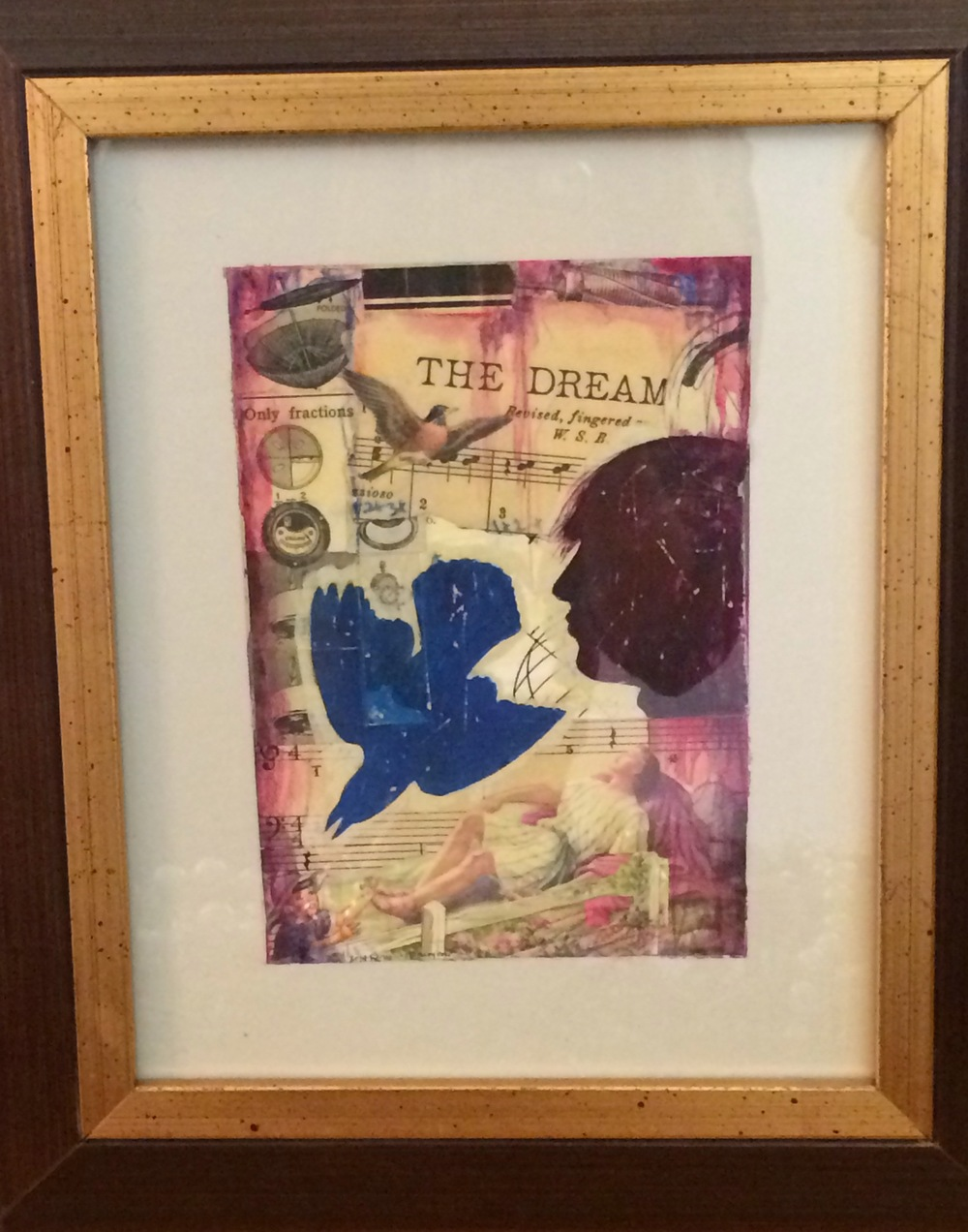 """Jacob's Dream."" Douglas Bourgeois. Mixed media collage. 5""w x 7""h framed. Value: $700.00."