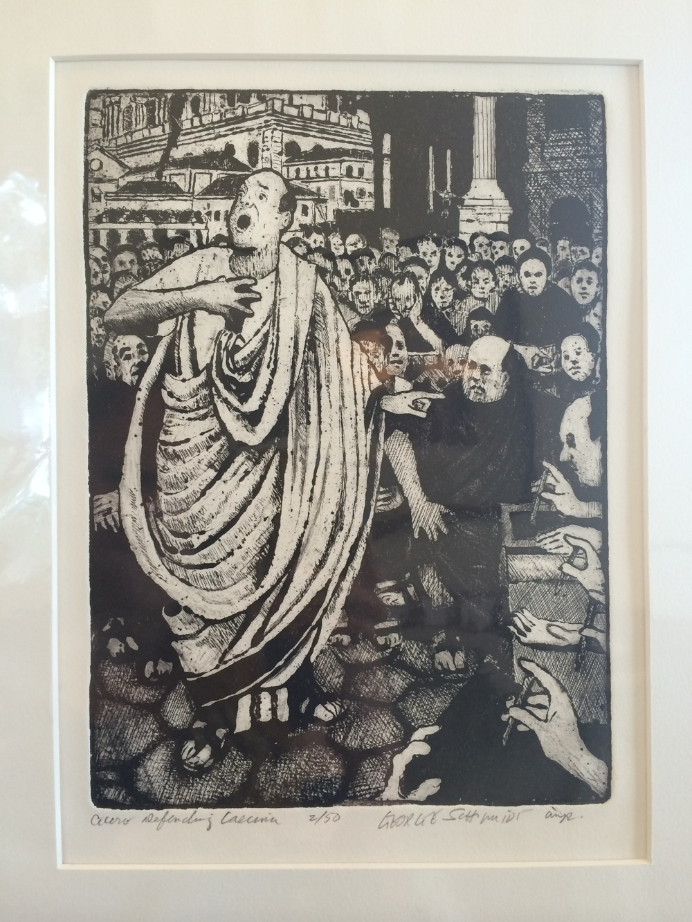 """Cicero Defending Caesar."" George Schmidt. Pen and ink print, 8"" X 11"" image matted. Value:  $325.00."