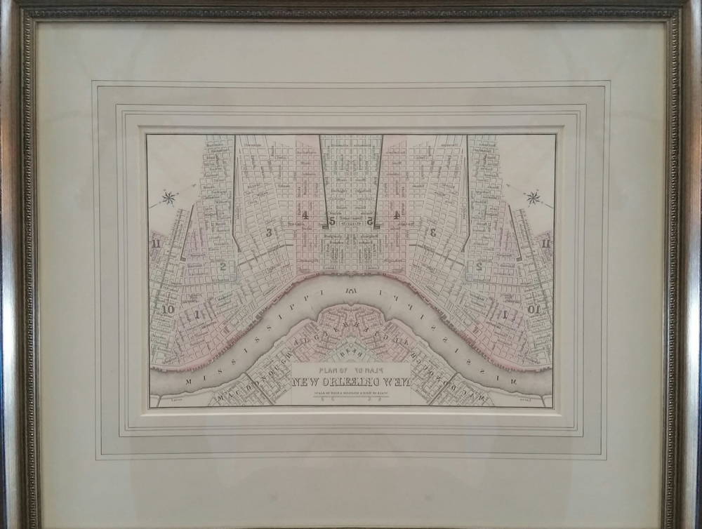 "Samuel Augustus Miller, Jr., ""Plan of New Orleans"", hand-colored engraving, 8""x10"", c. 1884, value: $250"