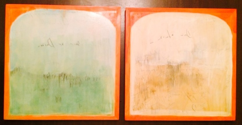 "Karoline Schleh, ""Horizontal Line 1 & 2"", Watercolor, graphite and gouache on birch panel, two 12""X12"" panels, Value: $300"