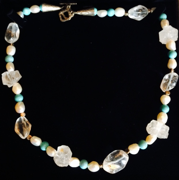 Joaillerie by Ned, Necklace of white baroque pearls, rock crystal, turquoise, and sterling silver, Value: $395