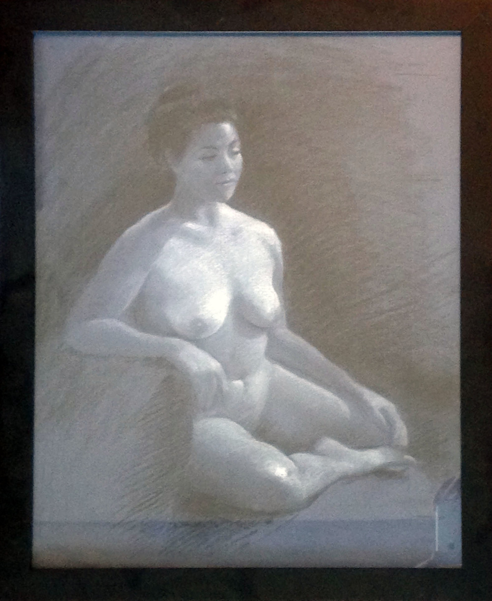 "Untitled nude by Linda K. Stubbs, charcoal on paper, 18""X22"""