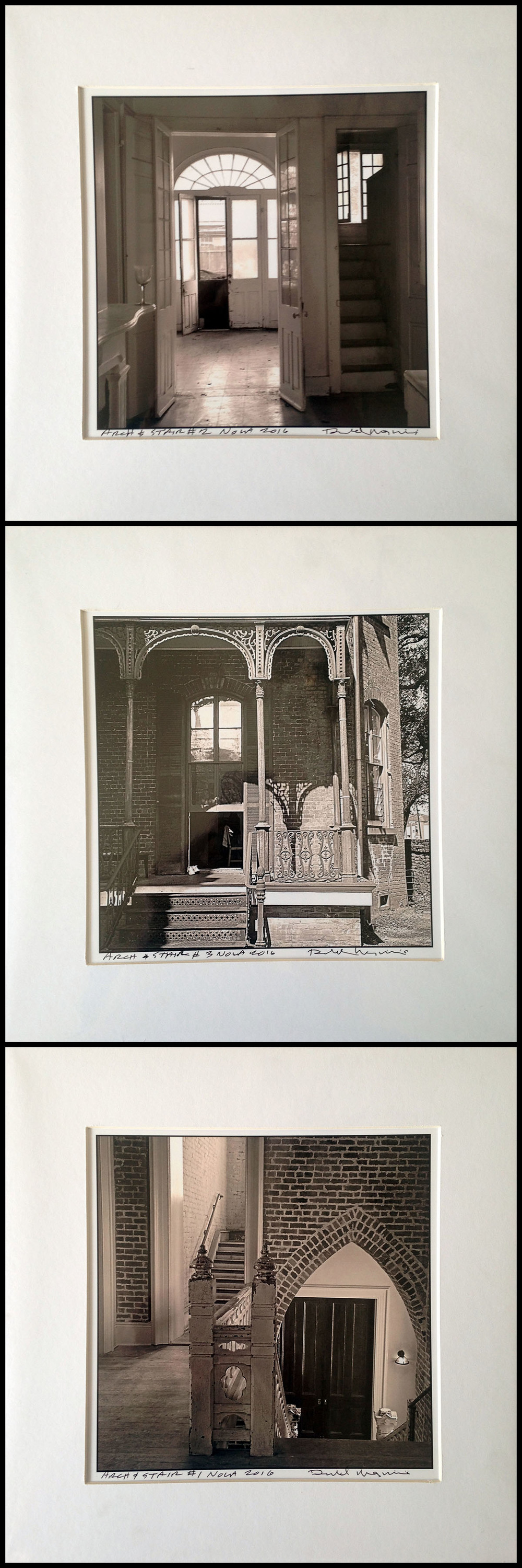 "Three b&w photographs of New Orleans architecture by Donald Maginnis, 12""X12"" matted, value: $135"