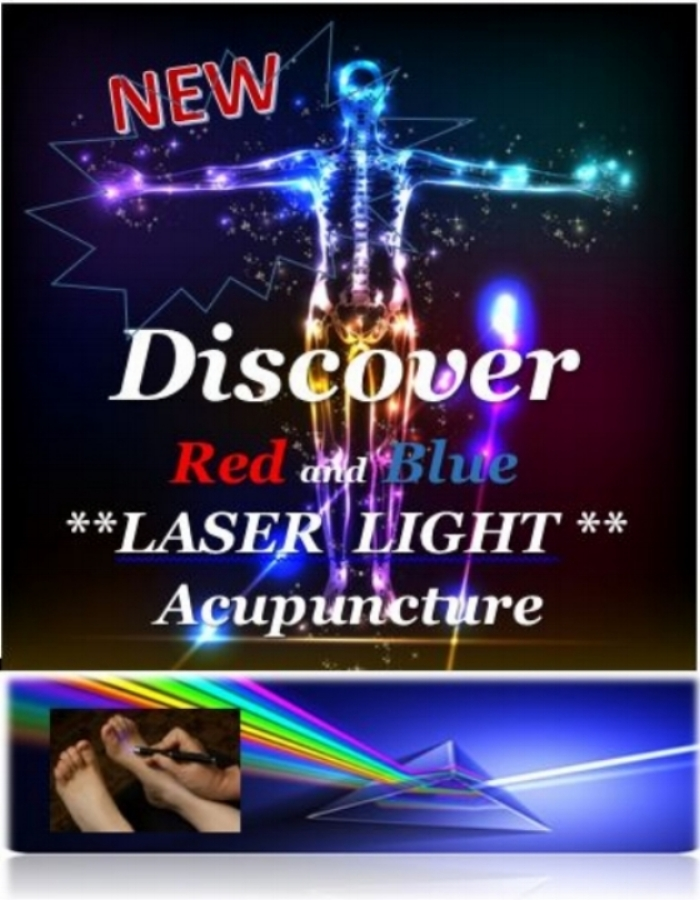 Do you have a fear of needles? - Now with Red and Blue therapeutic cold, non-heating Lasers we can treat acupuncture points on the body and in the ear with efficiency and effectiveness. Just like traditional acupuncture, laser acupuncture is used to prevent and treat a variety of diseases while improving your overall health and well-being.The benefits of cold laser acupuncture are very similar to the benefits of acupuncture performed with needles, including tissue repair and relief from pain and inflammation.Laser treatment is painless, non-invasive. Laser acupuncture has the additional benefit of requiring no puncturing of the skin, no pain, and no needles.