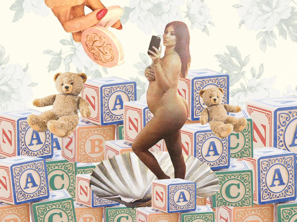 Kim Kardashian is Sexualizing Motherhood, InStyle.com, May 2018  Illustration by  Rachel E. Thomas