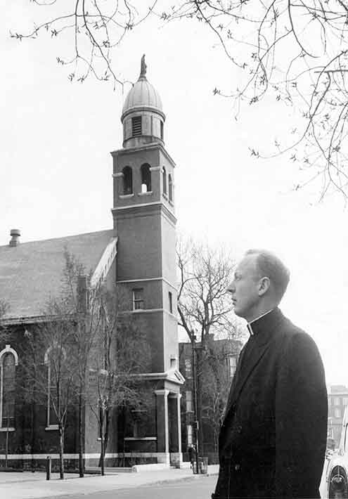 Pastor John Fleming in the years before the church's demolition in 1957. (click to enlarge).