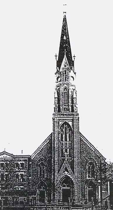 The current St. Joseph Church as it appeared upon completion in 1878   (click to enlarge). The original Gothic style was modernized in 1956.