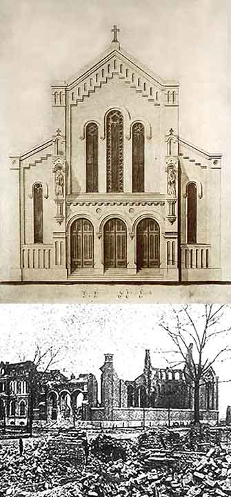Rendering of the basilica-style St. Joseph Church   as it appeared in 1862 at the corner of   Chicago Avenue and Rush Street , and after it was destroyed in the Chicago Fire (click to enlarge).