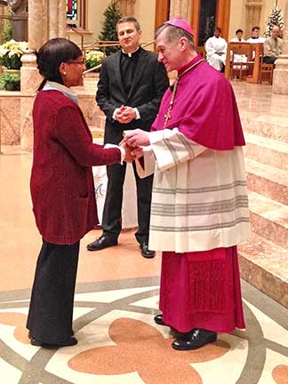 Toni Gamble with Archibishop Cupich