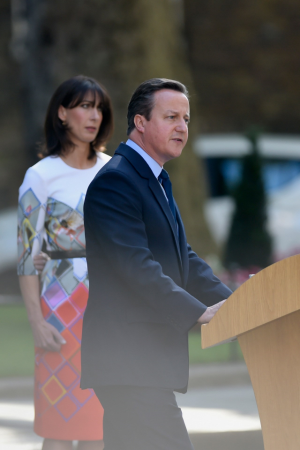 David Cameron arrives to speak to the press outside Downing Street today - picture credit PA