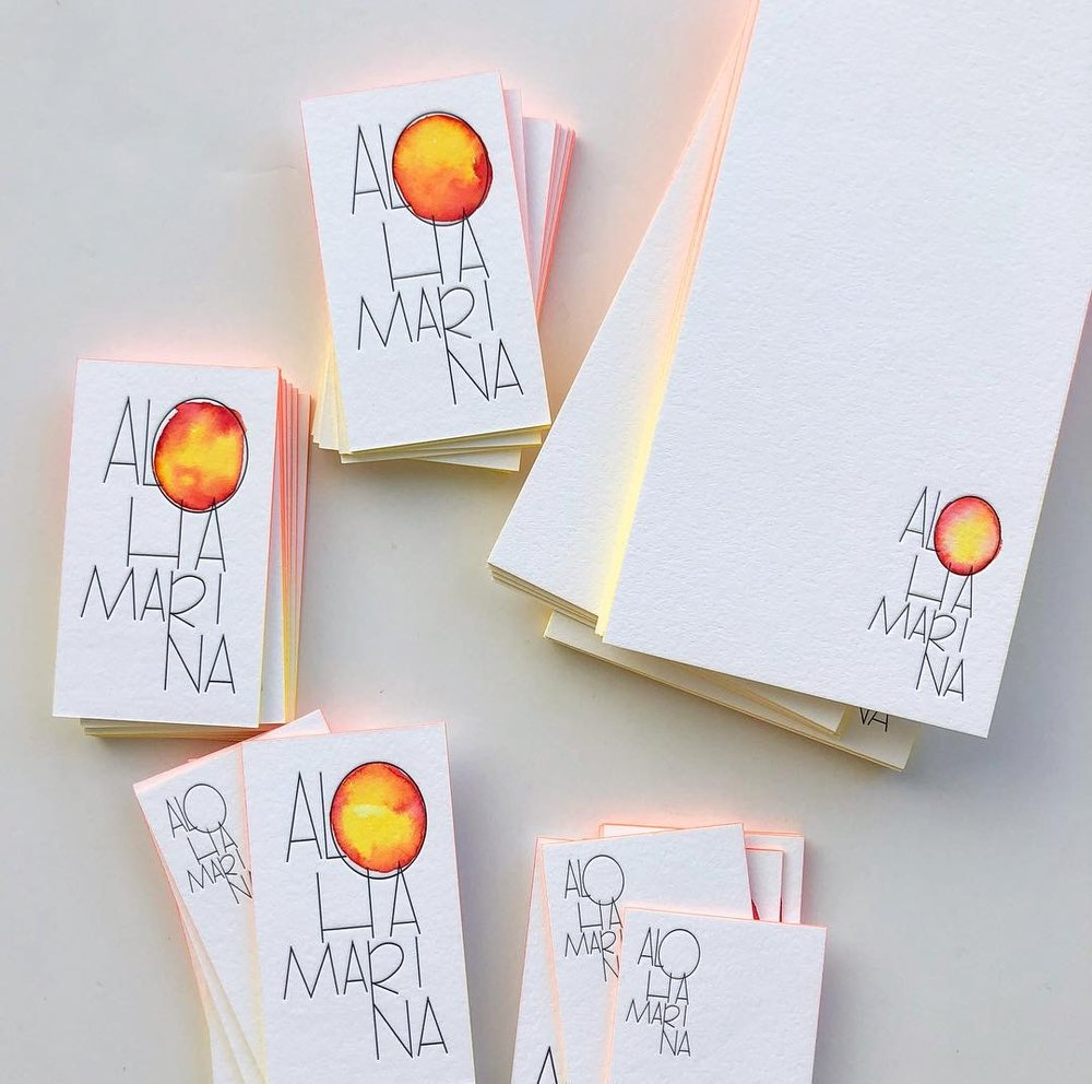 business cards and flat stationery