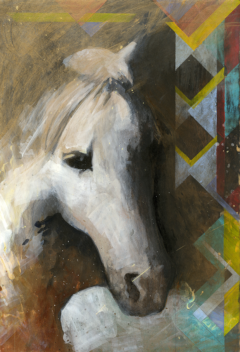 "#128   2015  Southwest Horse  12""x 17.5""        sold"