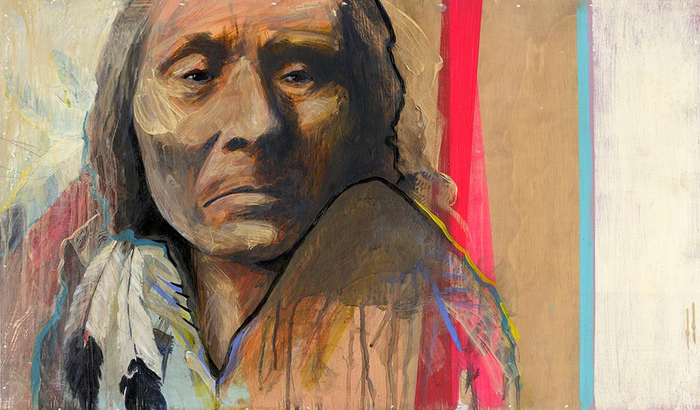 "#123        2015  Native II       27""x 16""        acrylic on panel         sold"