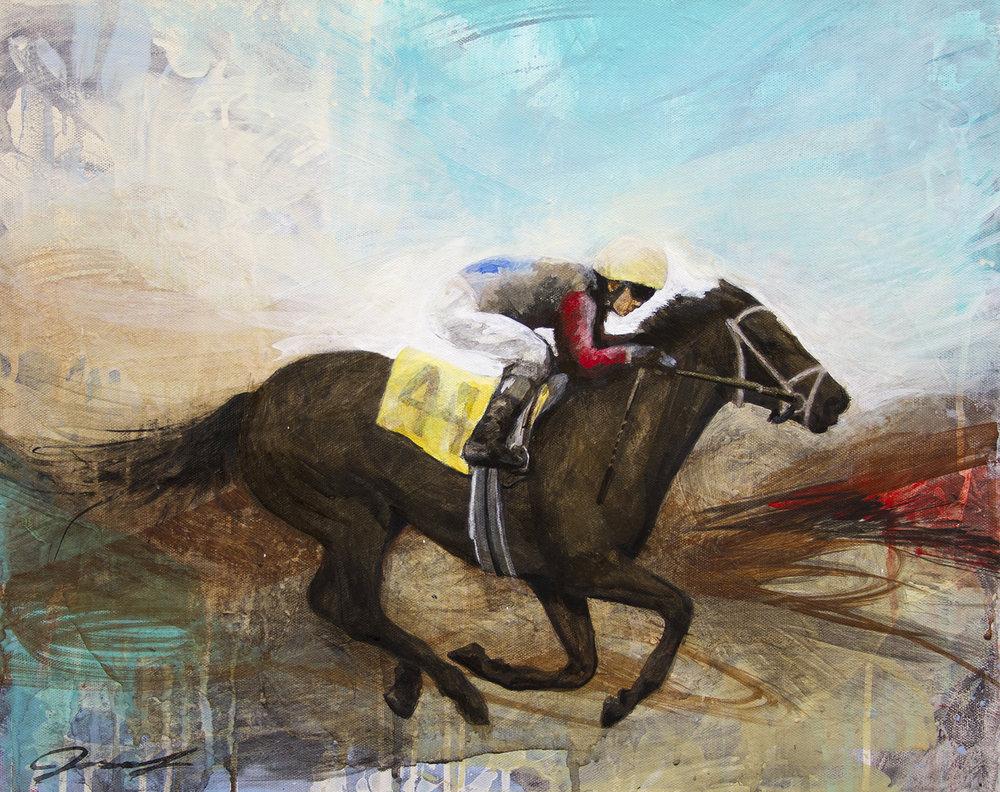 """#116 2015   Race I    16""""x 20""""   acrylic on canvas  Sold"""