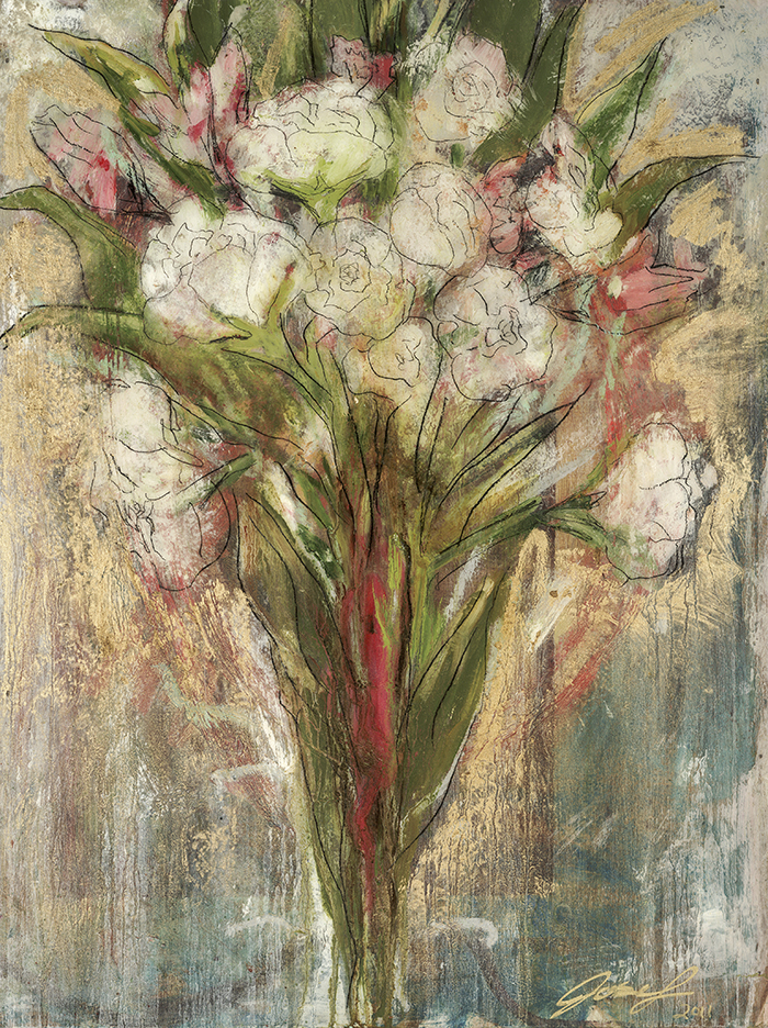 """#21  2011  Flowers for her  16"""" x 20""""  oil on panel"""