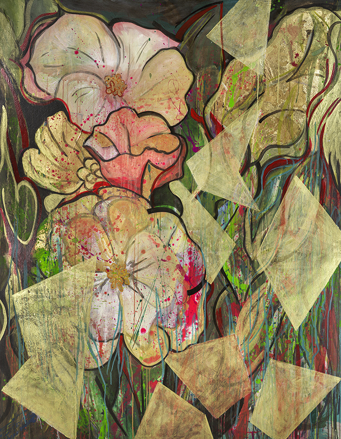 "#25  2012 Flowers for Goldilocks  56″ x 72"" acrylic and gold-leaf on canvas"