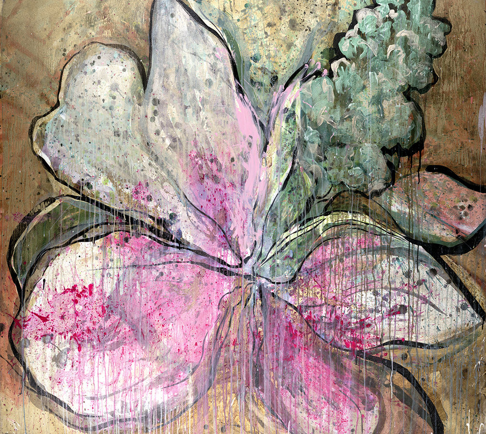 "#37 Okie Wild Flower 61″ x 68""acrylic & gold-leaf on canvas."