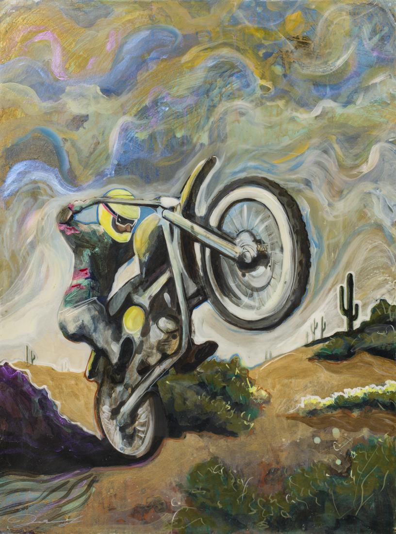 """#146 2017 """"Desert Rider II""""mixed media on panel 23""""x 31"""" $2500"""