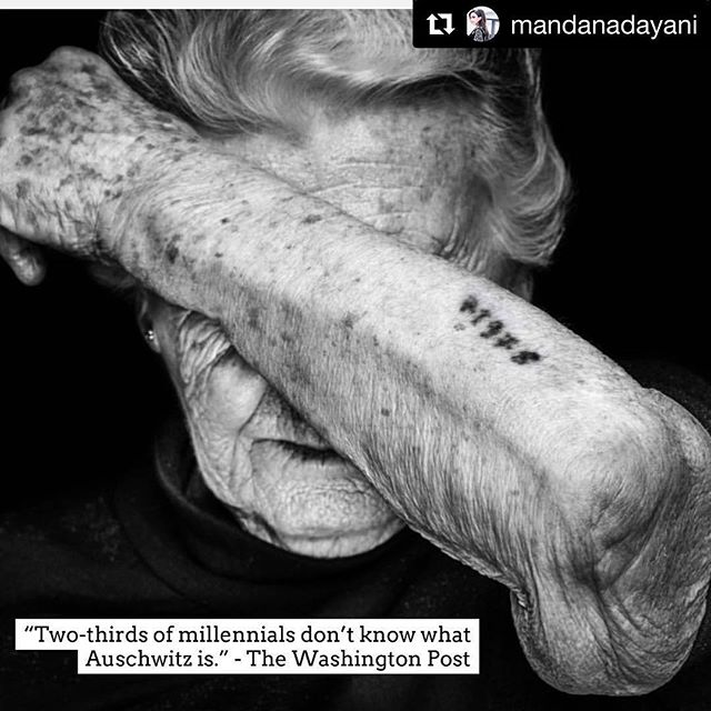 This is hard to believe! Who didn't learn about the holocaust in school? I went to public school and we spent weeks on this! #Repost @mandanadayani with @get_repost ・・・ 2/3 of American millennials surveyed in a recent poll cannot identify what Auschwitz is. 22 percent of millennials said they haven't heard of the Holocaust or are not sure whether they've heard of it. ⁣⁣ ⁣ These are terrifying numbers. Today is International Holocaust Remembrance Day. Please share with your communities. Together we can help remember the millions that were murdered, their families and the countless people who helped them. We must demand that all school curriculums include this very dark part of our history. The Holocaust didn't start with the trains. It started with hate, fear and prejudice. ⁣⁣ ⁣⁣ Photo: @beatmumenthaler⁣⁣