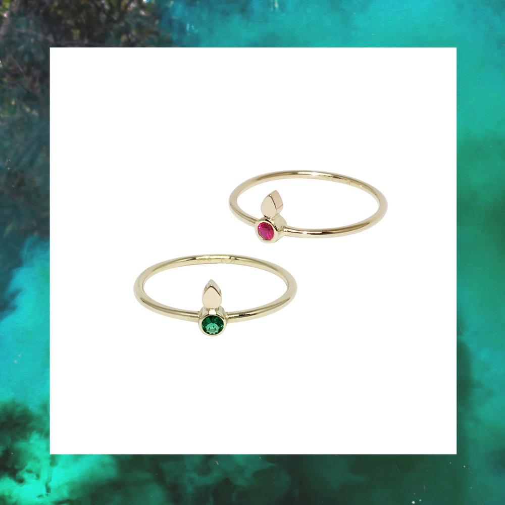 dråbering guld rubin ruby emerald smaragd guldring jewellery jewelry jewelrydesign rubyring emeraldring smargdring rubinring treokai smykker smykkedesign