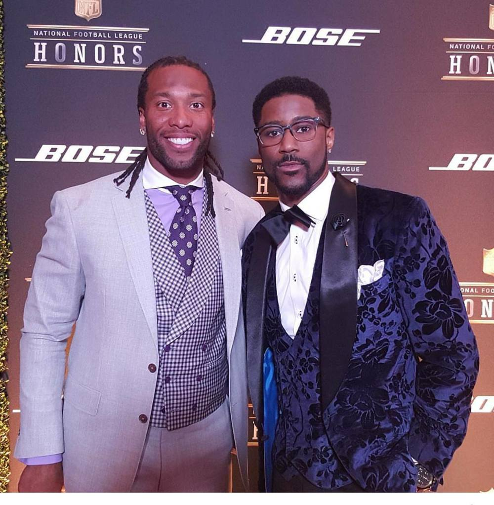 www.WilliamMalcolmCollection.com   Nate Burleson Of NFL Network wearing Wiliam Malcolm At Super Bowl 50 Red Carpet Gala.