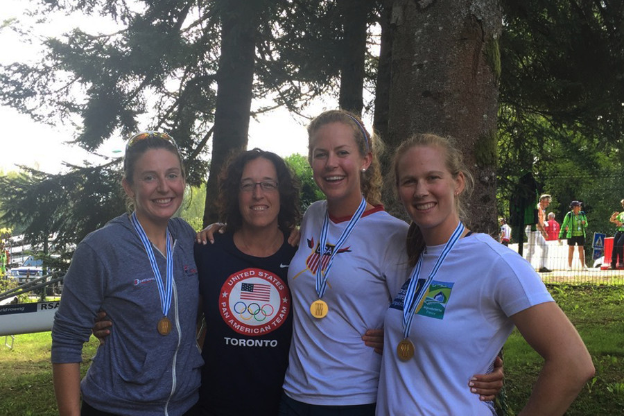 With members of the gold medalist USA Women's 4- at the 2015 World Rowing Championships in Auigbellete, France.