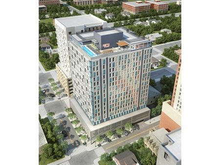 MUZE, located blocks away from the University of Texas in Austin, will offer shared amenities including a rooftop pool.