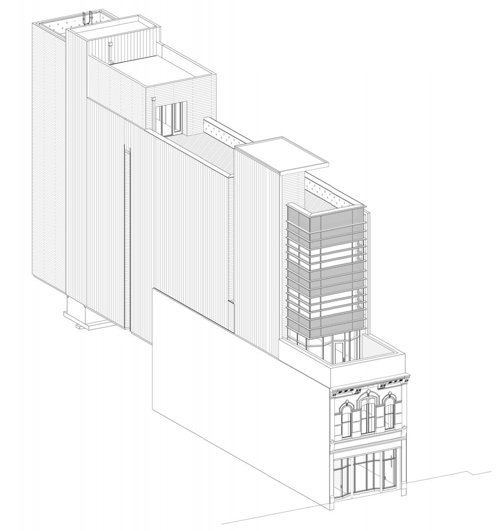An illustration of the offices planned at 916 Congress Avenue, looking northwest from this perspective. Image: Sixthriver Architects