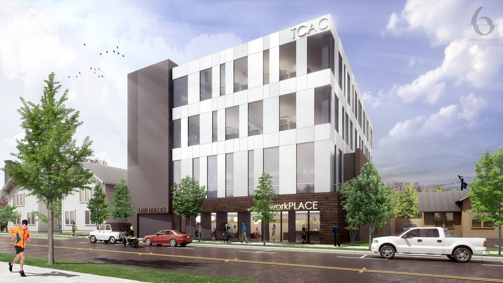 A rendering of the office building planned at 1108 Nueces Street. Image: Sixthriver Architects