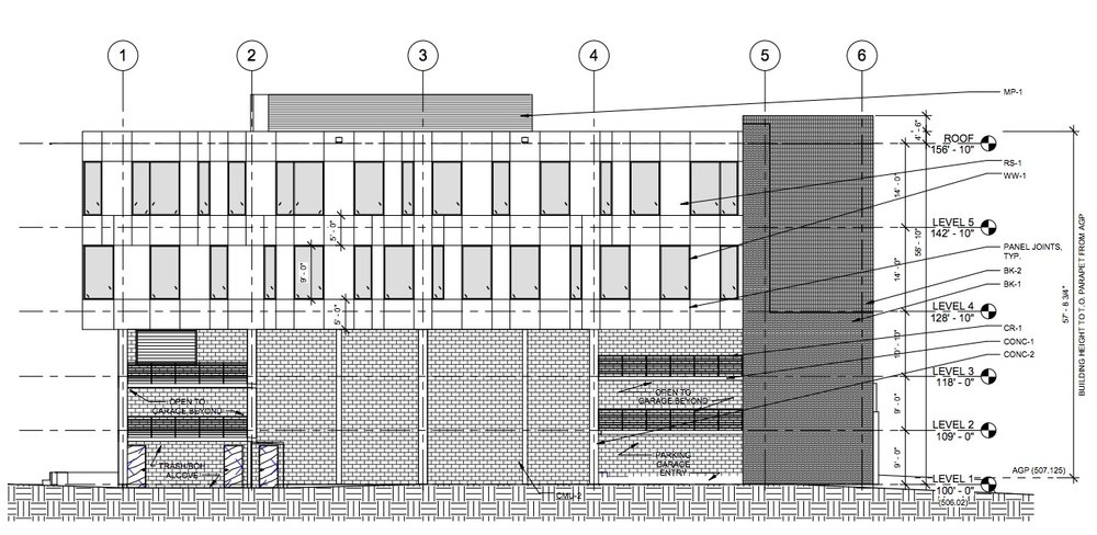 A southern elevation of the proposed office building at 1108 Nueces Street. Image: Sixthriver Architects