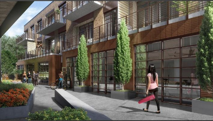 A rendering of the 'paseo' walkway at The Foundry at Third and Comal streets in East Austin.