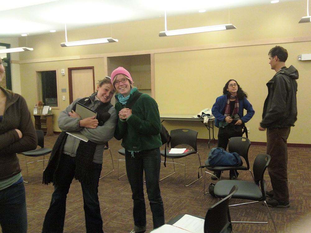 BYI Board Member Maria Kappes w/Lily Deford, b/gvolunteers Kareen Erbe & Marshall Swearingen at early BOB brainstorm.