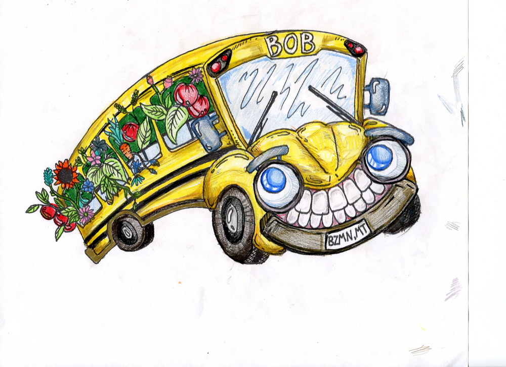 Our first year with the bus, Longfellow Farm-to-School group received a grant from MSU Team Nutrition, part of which went to the creation of a BOB coloring book we gave out to kids. This cover image was created by Kate Murphy.