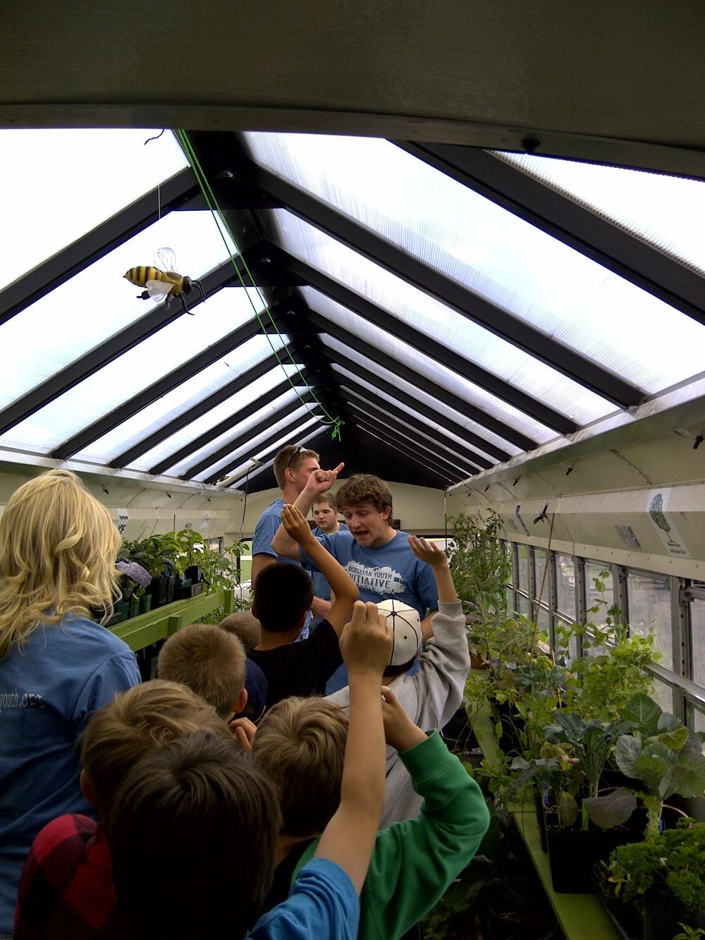 Volunteers from Belgrade High School Renewable Energy Club teaching kids at Ridgeview Elementary in Belgrade.