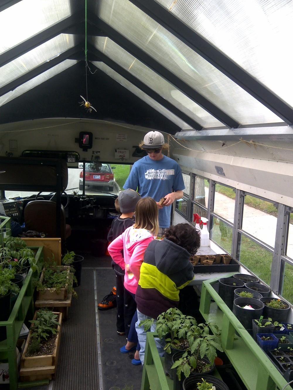 Ben Bunch with kids at Irving School.