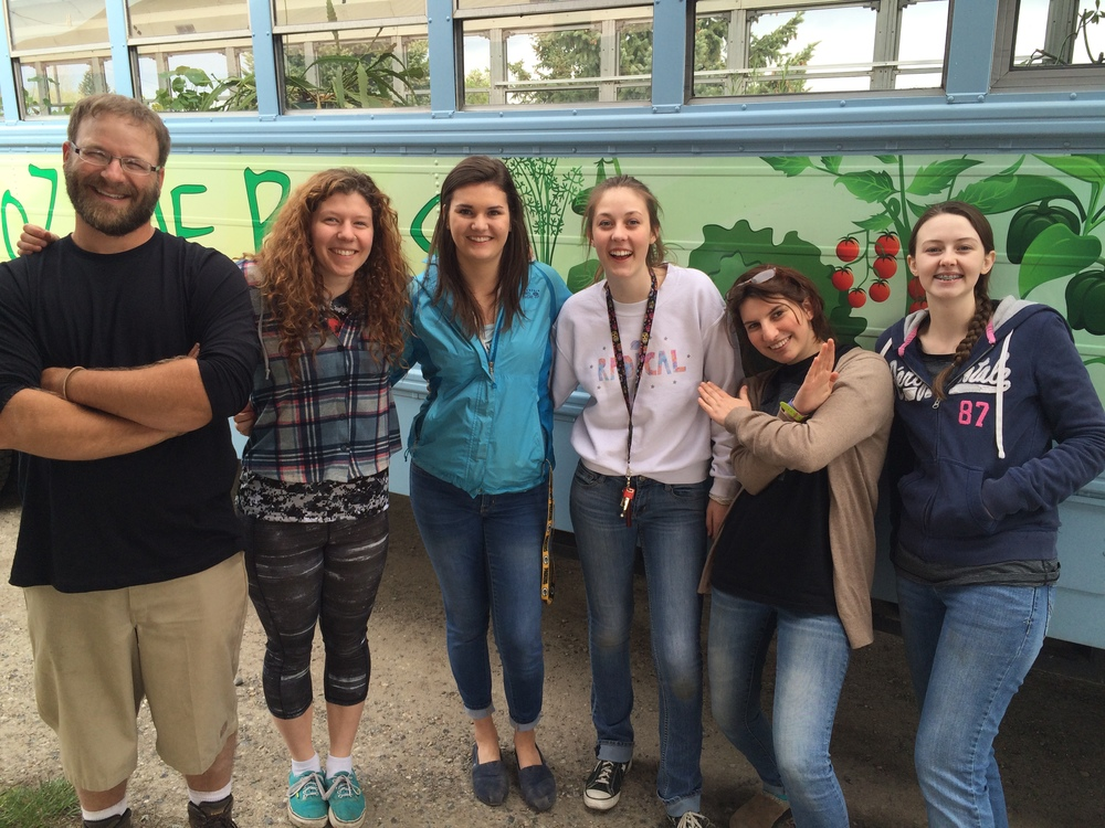 Program Director Ben Hughes with 2015 interns Emma Kerins, Kate Brunswick, Ambert Cobb, Ellie Eiger, and Kacie Cobb. Not pictured Kerstin Long & Kate Middleton. The teaching program began all-volunteer. Now this is our third group of paid interns with the bus program.