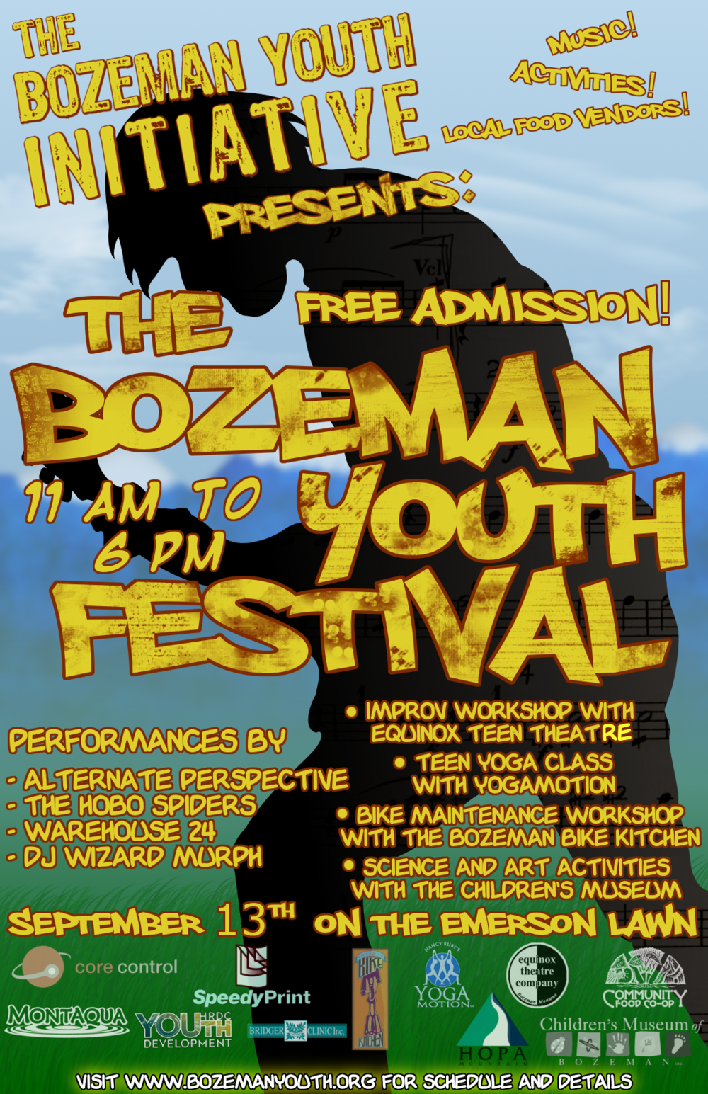 Bozeman Youth Festival, 2009. Poster by Dacotah Stordahl.